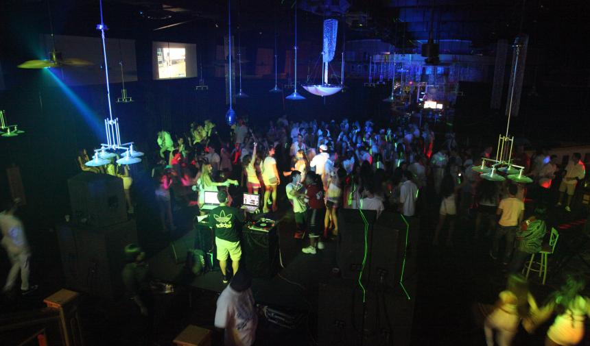 high school students in a club during spring break in Nassau, Bahamas