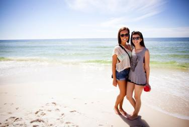 Two girls by the water at PCB
